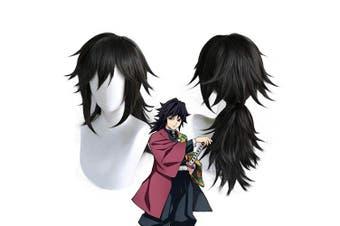 (Tomioka Giyuu) - Ani·Lnc Demon Slayer Kimetsu no Yaiba Tomioka Giyuu Black Ponytail Wig Cosplay Costume Men Women Heat Resistant Synthetic Hair Wigs