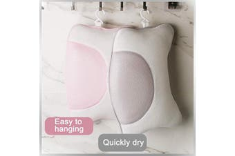 (Pink) - Luxurious Bath Pillow, Bath Pillows for Tub, Bath Tub Head Neck and Back support with 4 Suction Cups Washable Spa Pillow (Pink)