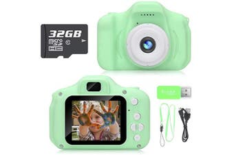(Advanced-green) - Hachi's Choice Kids Camera,Toys for 3-8 Year Old Boys Girls, Compact Cameras for Children,Best Birthday Festival Gift for 4-8 Year Old Toddler,Green(32G SD Card Included)