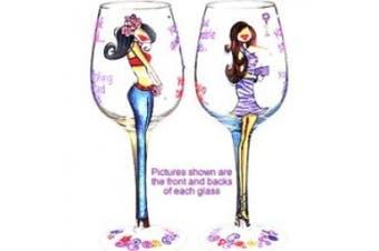 Bottom's Up 440ml Lasting Friendships Handpainted Wine Glass