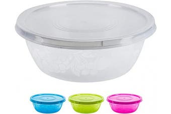 (Random, 1 Pack) - DecorRack Serving Bowl with Lid, Extra Large Pasta, Salad, Snack Bowl, Dough Kneading, Durable -BPA Free- Plastic Mixing Bowl with Tight Lid, Vibrant Party Decor, Random Colours (1 Bowl))