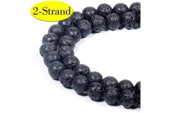 (8MM, Black Lava Stone) - 8MM Black Lava Stone Beads | 2-Strand Natural Round Healing Gemstone Beads Bulk for Jewellery Making & Craft