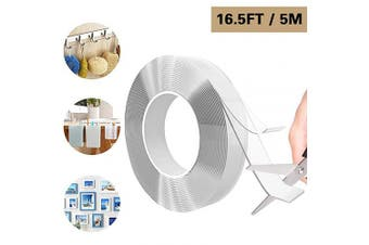 Traceless Washable Adhesive Tape, Reusable Transparent Double Sided Adhesive Grip Tape, Removable Multi-Functional Non-Slip Strong Adhesive Tape for Room, Wall, Carpet, Paste Items(16.4 Feet / 5M)
