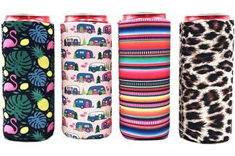 (Colorful A-4pcs) - 4pcs Neoprene Slim Beer Can Cooler Tall Stubby Holder Foldable Stubby Holders Beer Cooler Bags Fits 350ml Slim Energy Drink & Beer (Colourful A-4pcs))