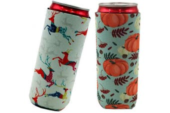 (Pumpkin_Elk) - 2pcs Neoprene Slim Beer Can Cooler Tall Stubby Holder Foldable Stubby Holders Beer Cooler Bags Fits 350ml Slim Energy Drink & Beer (Pumpkin_Elk)