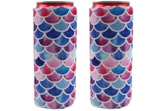 (Mermaid) - 2pcs Neoprene Slim Beer Can Cooler Tall Stubby Holder Foldable Stubby Holders Beer Cooler Bags Fits 350ml Slim Energy Drink & Beer (Mermaid)