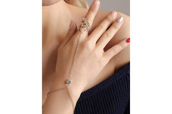 (Silver) - Chargances Slave Bracelet Adjustable Hand Chain Bracelet with Finger Ring Women Ladies Belly Dance Gypsy Jewellery Ring Bracelet Wrist Bangle Ring Golden(Silver)