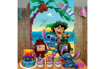 Stitch Backdrop | Lilo and Stitch | Party Decorations | Birthday | Baby Shower | Tropical Background Photography Banner