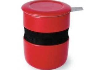 (Red) - Forlife Asian Style 350ml Tea Cup with Infuser and Lid, Red