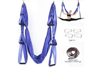 (Basic kit+Extension Straps+Hooks, Double Purple) - Chilly Aerial Yoga Swing Set - Yoga Hammock/Trapeze/Sling Kit + Extension Straps - Antigravity Ceiling Hanging Yoga Sling - Inversion Swing