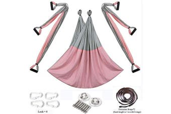 (Basic kit+Extension Straps, Pink/Gray) - Chilly Aerial Yoga Swing Set - Yoga Hammock/Trapeze/Sling Kit + Extension Straps - Antigravity Ceiling Hanging Yoga Sling - Inversion Swing