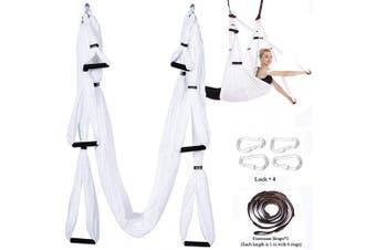 (Basic kit+Extension Straps+Hooks, White) - Chilly Aerial Yoga Swing Set - Yoga Hammock/Trapeze/Sling Kit + Extension Straps - Antigravity Ceiling Hanging Yoga Sling - Inversion Swing
