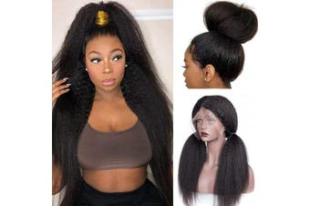(25cm , KS) - HC Hair Kinky Straight 360 Lace Frontal Wig Pre Plucked Italian Yaki Human Hair Wigs Brazilian 150% Density Remy Lace Front Human Hair Wigs for Women (25cm , 360 KS)