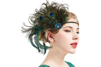 (Peacock) - ArtiDeco 1920s Headpiece Vintage 1920s Flapper Headband Peacock Feather Crystal Beaded Headband Great Gatsby Costume Accessories Roaring 20's Accessories (Peacock)(Size: One Size)