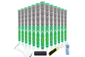 (Standard, Apple Green(All Repair Kits)) - Champkey Victor Golf Grips Grey Series Set of 13(All Repair Kits Included) - Cross Cotton Technology Golf Club Grips Ideal for Clubs Wedges Drivers Irons Hybrids
