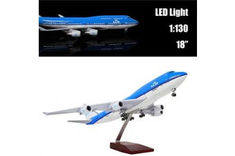 """24-Hours 18"""" 1:130 1 Scale Aeroplane Model Holland 747 with LED Light(Touch or Sound Control) for Home Decoration or Gift"""