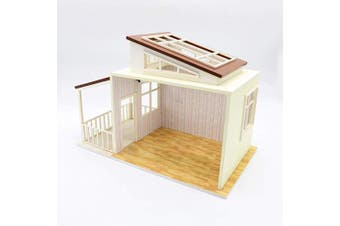 Cool Beans Boutique 1:18 Miniature Dollhouse Frame DIY Kit – Brown Roof House Frame with Patio, Skylight, and Lights (English Manual) 11870011 Brown Roof Frame