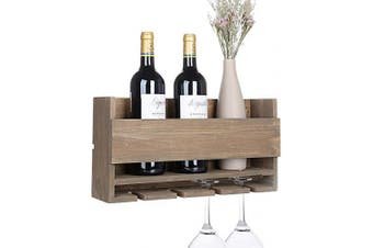 (Carbonized Black) - Vencipo Rustic Wall Mounted Wine Rack with 5 Red Wine Glasses Storage, Wooden Wine Bottle Holder for Farmhouse Kitchen Decor, Floating Wine Shelf Organiser for Living Room Display.