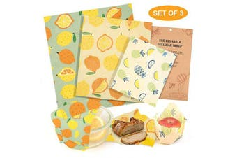 (Tricolor) - Beeswax Food Wrap Set of 3, Homegoo Eco Friendly Zero Waste Reusable Food Grade Beeswax Food Storage Wrapping Paper Cling Wrap for Sandwich, Cheese, Vegetable and Bread (1 Small/1 Medium/1 Large)
