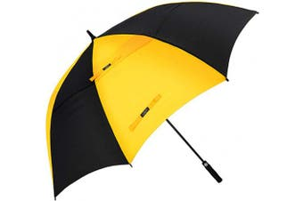 (140cm , 22.Black/Yellow) - G4Free 54/2.3cm Automatic Open Golf Umbrella Extra Large Oversize Double Canopy Vented Windproof Waterproof Stick Umbrellas