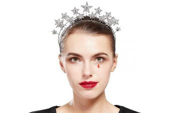 (Silver) - Coucoland Vintage Halo Crown Headpiece Star Celestial Crystal Headband Goddess Halo Crown Costume Spike Head Piece for Wedding Show