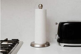(Nickel/Smoke) - Umbra Tug Modern Stand Up Paper Towel Holder – Easy One-Handed Tear Kitchen Paper Towel Dispenser with Weighted Base for Standard Paper Towel Rolls, Nickel