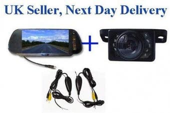 Wireless Night view Parking Reversing camera 18cm Mirror monitor LCD next day