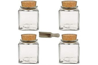 (100 ml, 4-piece) - Viva housewares spice jar made of glass with cork stopper, usable as glass jars and storage tins for spices, salt, etc, Glass, transparent, 100 ml