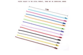 (multicolored2) - 80pcs Ball Bead Metal Chain Mixed Colour Tags Metal Chain with Connectors for DIY Jewellery Findings (2.4mm)