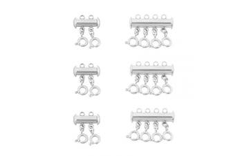 (2+4 Strand) - Layered Necklace Spacer Multistrand Clasps Detangler Clasp for Layered Bracelet Necklace Jewellery Crafts (Silver,2 Strand+4 Strand)