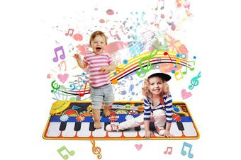 (Blue) - Gift for 2-8 Year Old Kids, Piano Mat for Toddlers, 19 Musical Keyboard Playmat Music Touch Play Dance Mat, Birthday Christmas Presents for Boys Girls Kids Toddlers (10 Demo, 8 Instruments Sounds)