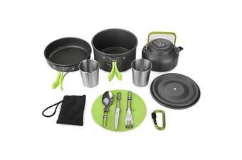 (Green) - Aitsite Camping Cookware Kit Outdoor Aluminium Lightweight Camping Pot Pan Cooking Set for Camping Hiking