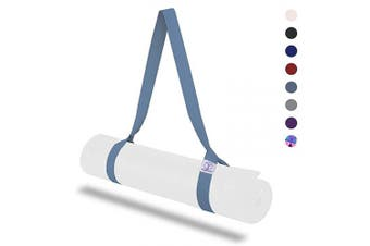 (Light Blue) - Yoga Mat Strap, Adjustable Sling Carrier and Straps for Carrying, Double Holders Yoga Strap for Stretching, Durable Cotton Straps Set Mats (Yoga Mat Not Included)