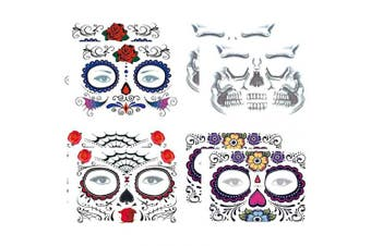(Collection 1) - COKOHAPPY Day of the Dead, Skeleton Face Tattoo Sticker, 8 Sheets Sugar Skull, Red Roses Temporary Face Tattoo Halloween Makeup Kit for Women