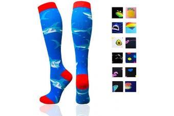 (Small/Medium(US SIZE), Shark) - Compression Socks Women & Men - Best for Running,Medical,Athletic Sports,Flight Travel, Pregnancy