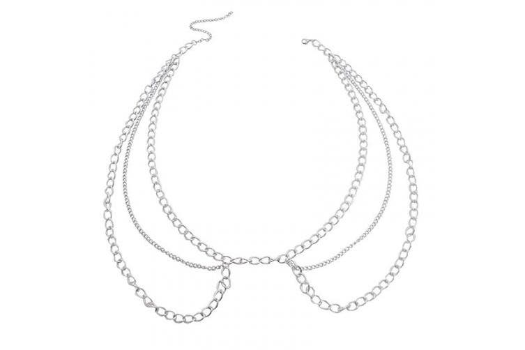 Simsly Body Chain alloy party Waist Chain Body Jewellery for Women and Girls. (Silver)