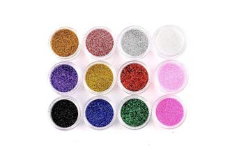 (12 colours) - Anladia 12 Colours Nail Art Tips Ultra Fine Glitter Powder Dust Tips DIY Decoration Kit