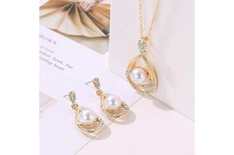 (Gold) - Chargances Pearl Crystal Pendant Dangle Necklace and Earrings for Women Pearl Crystal Jewellery Set Fashion Gifts for Women Girls(Gold)