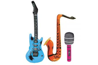 (3pcs) - Large Inflatable Guita Saxophone Microphone for Music Themed Parties by AmandaSisters (3pcs)