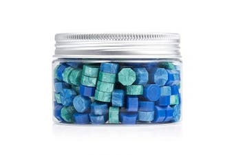 (DeepBlue, SkyBlue, CoralGreen) - Mceal 200 Pieces Sealing Wax Beads Blue Mix Three Colours