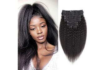 (41cm , Kinky Straight) - Rolisy Kinky Straight Clip ins Human Hair Extensions,100% Unprocessed 8A Grade Human Hair,Real Soft Thick Hair for Women,Kinky Straight Hair Clip ins,Natural Black Colour,120Gram,10Pcs,41cm