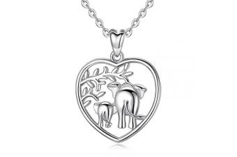 "(A: Lucky Elephant in Heart) - Silver Necklaces for Women, 925 Sterling Silver Lucky Elephants""Family Love"" Tree of Life Claddagh Celtic Knot Pendant Necklace, AEONSLOVE Jewellery 46cm for Mum Women Wife"