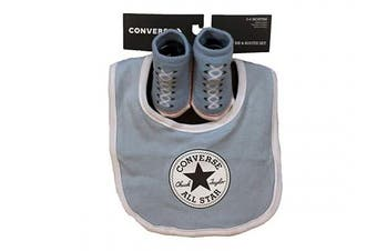 (6-12 Months, Light Blue(LC0007-C1A)/White) - Converse Infant Baby Chuck Taylor Booties & Bib Set (6-12 Months, Light Blue(LC0007-C1A)/White)