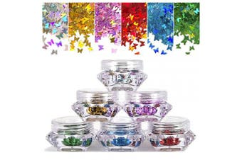 (Butterfly) - 6 Colours Butterfly Nail Sequin, Ultra Thin Iridescent Nail Glitter Paillette, Holographic Laser 3D Nail Art Flakes, Shining Sequin Paillette for Face DIY Crafts