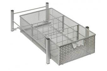 (Medium) - Amtido Mesh Cabinet Basket Organisers - Metal Storage Drawer - Sliding Rack with Dividers for Spice, Shower, Pantry Supplies - Kitchen, Bathroom, Undersink, Garage Shelving - Silver - Medium