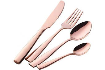(4*4 Rose Gold) - Buyer Star Cutlery Set 16 Piece Rose Gold Flatware Set Stainless Steel Tableware Set for 4 People