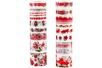 (Carmine Flower Plant Series) - Molshine Set of 20 Washi Masking Tape, Sticky Paper Tape for DIY,Bullet Diary Decorative,Gift Wrapping, Scrapbook, Arts Crafts Office Party Supplies-Carmine Flower Plant Series