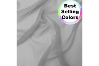 (Light Grey) - Chiffon Fabric | 10 Yards Continuous | 150cm Wide | Wedding Decoration, DIY Decoration, Sheer, Drapery, Solid by Barcelonetta (Light Grey)