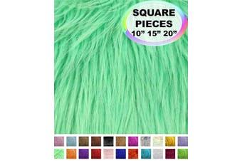 (25cm  X 25cm , Mint) - Barcelonetta | Faux Fur Squares | Shaggy Fur Fabric Cuts, Patches | Craft, Costume, Camera Floor & Decoration (Mint, 25cm X 25cm )