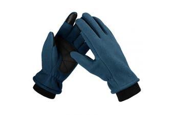 (X-Large, navy) - Bessteven Warm Winter Gloves Goatskin Fingertips Touch Screen Glove Liners with Full Hands Thermal Polar Fleece for Women Driving, Running, Hiking